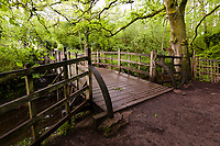 Pooh Bridge in Ashdown Forest, Sussex, UK, May 19, 2017. Picturesque Ashdown Forest stretches across the countries of Surrey, Sussex and Kent, and is the largest open access space in the South East of England. It is famous as the geographical inspiration for the Winnie the Pooh stories and is popular with fans of the characters.