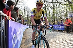 Team Jumbo-Visma rider on the the first ascent of the Kemmelberg during the 2019 Gent-Wevelgem in Flanders Fields running 252km from Deinze to Wevelgem, Belgium. 31st March 2019.<br /> Picture: Eoin Clarke | Cyclefile<br /> <br /> All photos usage must carry mandatory copyright credit (© Cyclefile | Eoin Clarke)