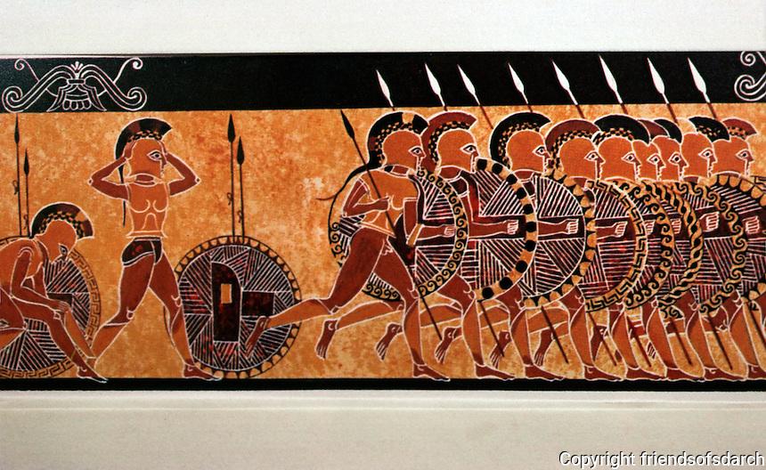 Greek Art:  Hoplites charging, 7th C. Corinthian vase.