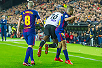 Geoffrey Kondogbia of Valencia CF  competes for the ball with Andres Iniesta Lujan of FC Barcelona  during the La Liga 2017-18 match between Valencia CF and FC Barcelona at Estadio de Mestalla on November 26 2017 in Valencia, Spain. Photo by Maria Jose Segovia Carmona / Power Sport Images
