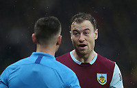 Burnley's Ashley Barnes has a disagreement with one of the assistant referees<br /> <br /> Photographer Rob Newell/CameraSport<br /> <br /> The Premier League - Watford v Burnley - Saturday 23rd November 2019 - Vicarage Road - Watford <br /> <br /> World Copyright © 2019 CameraSport. All rights reserved. 43 Linden Ave. Countesthorpe. Leicester. England. LE8 5PG - Tel: +44 (0) 116 277 4147 - admin@camerasport.com - www.camerasport.com