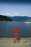 Life guard chair on empty beach. Deep Cove, Burrard Inlet,Vancouver, British Columbia, Canada.