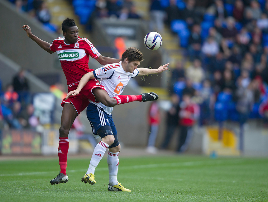 Bolton Wanderers' Marcos Alonso and Middlesbrough's Sammy Ameobi ... - (Photo by Stephen White/CameraSport) - ..Football - npower Football League Championship - Bolton Wanderers v Middlesbrough - Saturday 20th April 2013 - Reebok Stadium - Bolton..© CameraSport - 43 Linden Ave. Countesthorpe. Leicester. England. LE8 5PG - Tel: +44 (0) 116 277 4147 - admin@camerasport.com - www.camerasport.com