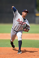 GCL Braves pitcher Jorge Zavala (22) delivers a pitch during the second game of a doubleheader against the GCL Yankees 1 on July 1, 2014 at the Yankees Minor League Complex in Tampa, Florida.  GCL Braves defeated the GCL Yankees 1 by a score of 3-1.  (Mike Janes/Four Seam Images)