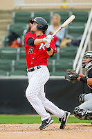 Patrick Palmeiro (24) of the Kannapolis Intimidators follows through on his swing against the Hickory Crawdads at CMC-Northeast Stadium on April 14, 2013 in Kannapolis, North Carolina.  The Intimidators defeated the Crawdads 6-0.  (Brian Westerholt/Four Seam Images)