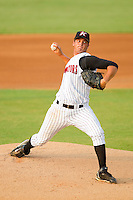 Starting pitcher Andre Rienzo #25 of the Kannapolis Intimidators in action against the Hagerstown Suns at Fieldcrest Cannon Stadium August 10, 2010, in Kannapolis, North Carolina.  Photo by Brian Westerholt / Four Seam Images