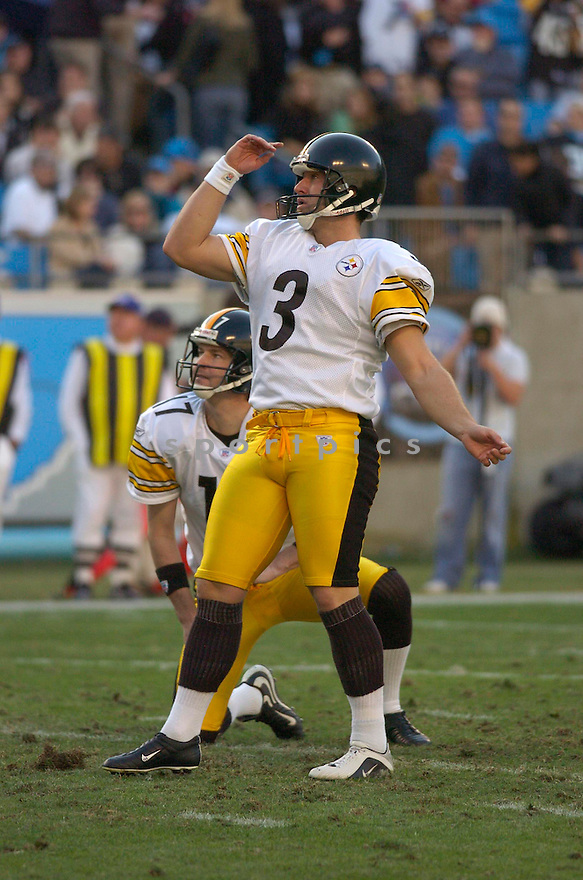 JEFF REED, of the Pittsburgh Steelers during their game  against the Carolina Panthers on December 17, 2006 in Charlotte, NC...Steelers  win 37-3...CHRIS BERNACCHI/ SPORTPICS
