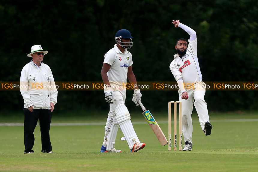 M Fahad in bowling action for Gidea Park during Gidea Park and Romford CC vs Harold Wood CC, Shepherd Neame Essex League Cricket at Gidea Park Sports Ground on 1st July 2017