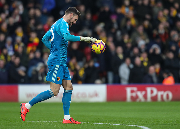 Watford's Ben Foster<br /> <br /> Photographer Andrew Kearns/CameraSport<br /> <br /> The Premier League - Watford v Burnley - Saturday 19 January 2019 - Vicarage Road - Watford<br /> <br /> World Copyright &copy; 2019 CameraSport. All rights reserved. 43 Linden Ave. Countesthorpe. Leicester. England. LE8 5PG - Tel: +44 (0) 116 277 4147 - admin@camerasport.com - www.camerasport.com