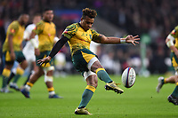 Will Genia of Australia puts boot to ball. Quilter International match between England and Australia on November 24, 2018 at Twickenham Stadium in London, England. Photo by: Patrick Khachfe / Onside Images