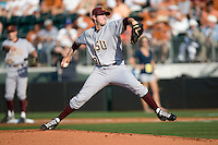 Arizona State Sun Devil starting pitcher Brady Rodgers #20 delivers against the Texas Longhorns in NCAA Tournament Super Regional baseball on June 10, 2011 at Disch Falk Field in Austin, Texas. (Photo by Andrew Woolley / Four Seam Images)