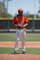 San Francisco Giants Orange relief pitcher Luis Moreno (41) prepares to deliver a pitch during an Extended Spring Training game against the Seattle Mariners at the San Francisco Giants Training Complex on May 28, 2018 in Scottsdale, Arizona. (Zachary Lucy/Four Seam Images)