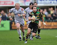 Rugby Union - Aviva Premiership - Northampton Saints vs. Leicester Tigers. Lee Dickson (capt) of Northampton Saints in action during the Northanpton Saints vs Leicester Tigers Aviva Premiership at Franklin's Gardens, Northampton,