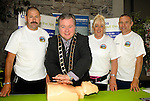 Mayor Paul Bell shows his CPR skills at the BFRRS 24 hr Cpr demonstration at Scotch Hall. loking on are (from left) Eugene Brannigan, Debbie McCole and Dave Kiernan of the Boyne Fishermen's Rescue and Recovery Service www.newsfile.ie