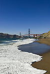 San Francisco: Baker Beach with Golden Gate Bridge in background.  Photo # 2-casanf83744.  Photo copyright Lee Foster