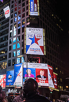 NY, NEW YORK, NOVEMBER 8 Screens in Times Square shows the last results of the presidential election in New York on November 8,2016. Photo by VIEWpress/Maite H. Mateo.
