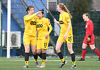 20200329 – BRUGGE, BELGIUM : Standard's players with Standard's Sanne Schoenmakers (8) and Standard's Lisa Petry (21) pictured celebrating the goal and 0-1 lead from Standard's Lola Wajnblum (11) during a women soccer game between Dames Club Brugge and Standard Femina de Liege on the 17 th matchday of the Belgian Superleague season 2019-2020 , the Belgian women's football  top division , saturday 29 th February 2020 at the Jan Breydelstadium – terrain 4  in Brugge  , Belgium  .  PHOTO SPORTPIX.BE | DAVID CATRY