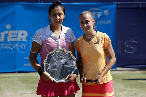 June 18th 2017, The Northern Lawn tennis Club, Manchester, England; ITF Womens tennis tournament; Zarina Dyas (KAZ) poses with her trophy after winning her singles final match against number seven seed Aleksandra Krunic (SRB) in straight sets