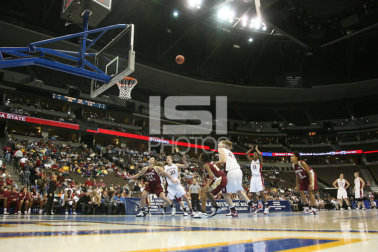20 March 2006: Candice Wiggins, Kristen Newlin, Brooke Smith, Jillian Harmon and Krista Rappahahn during Stanford's 88-70 win over Florida State in the second round of the NCAA Women's Basketball championships at the Pepsi Center in Denver, CO.