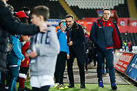 Swansea City manager Carlos Carvalhal takes a selfie as  arrives at Liberty Stadium prior to kick off of the Premier League match between Swansea City and Liverpool at the Liberty Stadium, Swansea, Wales, UK. Monday 22 January 2018
