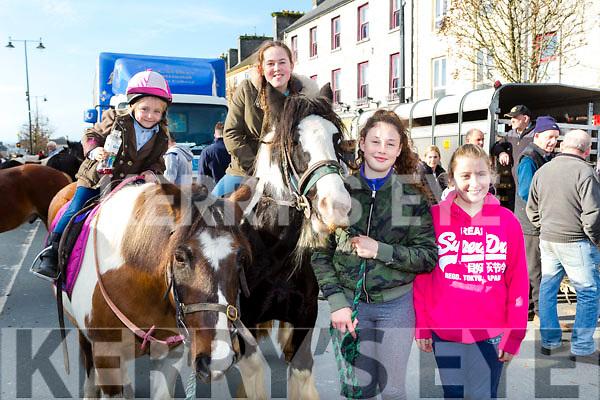Katie Anna and Shona Clarke, Tara O'Connor and Ava Sugrue at the Castleisland Horse Fair on Wednesday