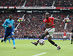 Paul Pogba of Manchester United miss kicks during the premier league match at the Old Trafford Stadium, Manchester. Picture date 29th April 2018. Picture credit should read: Simon Bellis/Sportimage