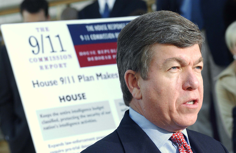 10/06/04.SEPT. 11 LEGISLATION--House Majority Whip Roy Blunt, R-Mo., during a news conference on the House GOP version of legislation in response to the Sept. 11 Commission report. .CONGRESSIONAL QUARTERLY PHOTO BY SCOTT J. FERRELL