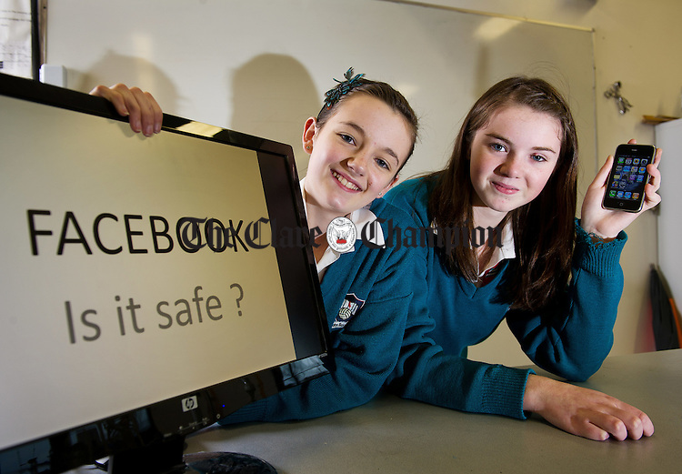 St. John Bosco Community College Kildysart pupils; Allison Garry and Lisa Maher, whose project explores the safety of social networking sites. Photograph by John Kelly.