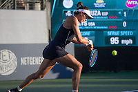 Palo Alto, CA - Saturday, August 5, 2017: Madison Keys defeated Garbiñe Muguruza in straight sets 6-3 6-2 to reach the final at the Bank of the West Classic 2017 at the Taube Family Tennis Stadium on the Stanford University campus.
