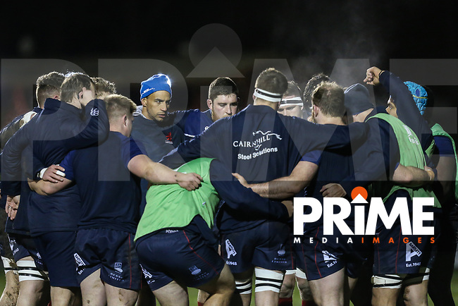 The London Scottish players warm up ahead of the Greene King IPA Championship match between London Scottish Football Club and Jersey Reds at Richmond Athletic Ground, Richmond, United Kingdom on 16 March 2018. Photo by David Horn.