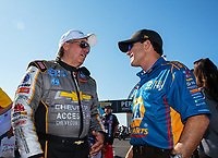 Sep 3, 2018; Clermont, IN, USA; NHRA funny car driver John Force (left) with Ron Capps during the US Nationals at Lucas Oil Raceway. Mandatory Credit: Mark J. Rebilas-USA TODAY Sports
