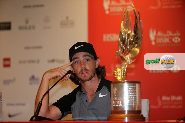 Tommy Fleetwood (ENG) winner of the Abu Dhabi HSBC Championship, Abu Dhabi Golf Club, Abu Dhabi,  United Arab Emirates. 22/01/2017<br /> Picture: Golffile   Fran Caffrey<br /> <br /> <br /> All photo usage must carry mandatory copyright credit (&copy; Golffile   Fran Caffrey)