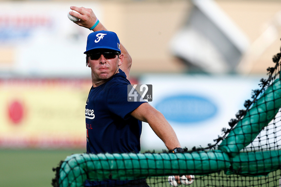 18 September 2012: Jeff Stoeckel throws for the batting practice during Team France practice, at the 2012 World Baseball Classic Qualifier round, in Jupiter, Florida, USA.