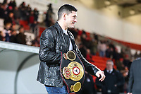 Boxer Jamie McDonnell leads out the teams before the Sky Bet League 1 match between Doncaster Rovers and Bradford City at the Keepmoat Stadium, Doncaster, England on 19 March 2018. Photo by Thomas Gadd.