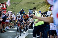 Richie Porte (AUS/Trek Segafredo) and Mikel Landa (ESP/Bahrain-McLaren) up the Col de Peyresourde<br /> <br /> Stage 8 from Cazères-sur-Garonne to Loudenvielle 141km<br /> 107th Tour de France 2020 (2.UWT)<br /> (the 'postponed edition' held in september)<br /> ©kramon