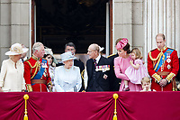 17 June 2017 - London, England - Queen Elizabeth II and Prince Philip, Duke of Edinburgh, Prince William, Catherine, Kate, Duchess of Cambridge and Prince George and Princess Charlotte, Prince Harry, Prince Charles, Prince of Wales and Camilla, Duchess of Cornwall and Princess, Kate, Duchess Kate, Duchess of Cambridge, Princess and Eugenie and Princess Beatrice and Prince Andrew. The ceremony of the Trooping the Colour, marking the monarch's official birthday, in London. Photo Credit: PPE/face to face/AdMedia