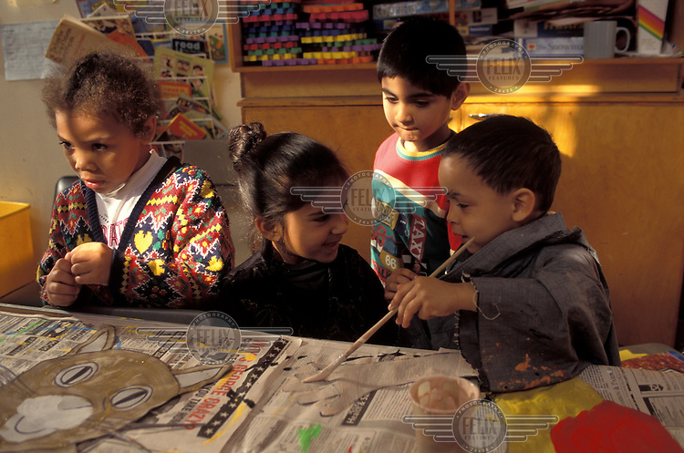 Young children in an art class.