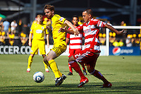 28 AUGUST 2010:  Eddie Gaven of the Columbus Crew (12) and FC Dallas' Daniel Hernandez (2) during MLS soccer game between FC Dallas vs Columbus Crew at Crew Stadium in Columbus, Ohio on August 28, 2010.