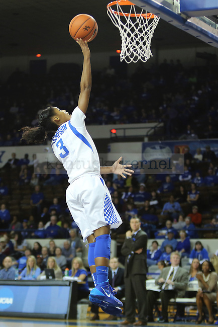 Kentucky Wildcats guard Janee Thompson (3) getting a lay up during the second half of the UK Hoops basketball game vs. Lipscomb on Thursday, November 21, 2013, in Lexington, Ky. Photo by Kalyn Bradford | Staff