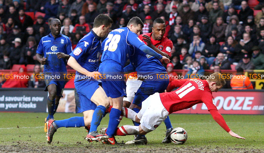 Scott Wagstaff of Charlton goes down in the box but no penalty awarded - Charlton Athletic vs Birmingham City, nPower Championship at The Valley, Charlton - 09/02/13 - MANDATORY CREDIT: Rob Newell/TGSPHOTO - Self billing applies where appropriate - 0845 094 6026 - contact@tgsphoto.co.uk - NO UNPAID USE.