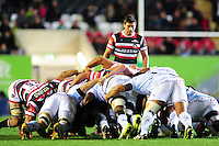 Ben Youngs of Leicester Tigers watches a scrum. European Rugby Champions Cup match, between Leicester Tigers and Racing 92 on October 23, 2016 at Welford Road in Leicester, England. Photo by: Patrick Khachfe / JMP