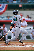 Daytona Tortugas third baseman Brantley Bell (24) follows through on a swing during a game against the Florida Fire Frogs on April 8, 2018 at Osceola County Stadium in Kissimmee, Florida.  Daytona defeated Florida 2-1.  (Mike Janes/Four Seam Images)