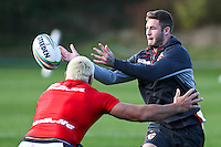 Picture by Alex Whitehead/SWpix.com - 30/10/2013 - Rugby League - Rugby League World Cup - England Training - Loughborough, England - Zak Hardaker is tackled by Ryan Hall.