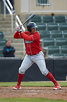 Jhailyn Ortiz (13) of the Lakewood BlueClaws at bat against the Kannapolis Intimidators at Kannapolis Intimidators Stadium on April 8, 2018 in Kannapolis, North Carolina.  The Intimidators defeated the BlueClaws 4-3 in game two of a double-header.  (Brian Westerholt/Four Seam Images)