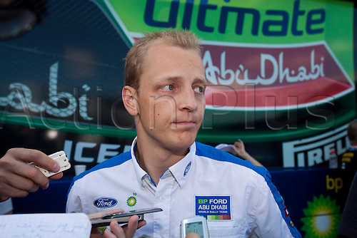 JYVASKYLA, FINLAND - JULY 30: Mikko Hirvonen of Finland pictured on the pit area after crashing his car in the WRC Rally Finland on July 30, 2010 in Jyvaskyla, Finland.