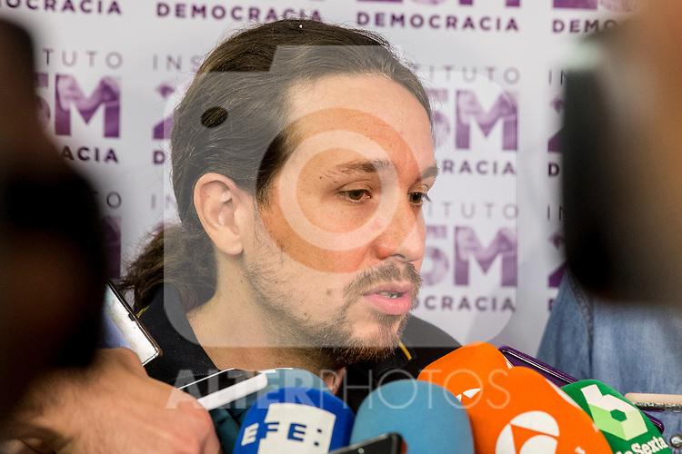 "Pablo Iglesias during the presentation of the new book of Jorge Aleman  ""Horizontes neoliberales en la subjetividad"" in Madrid. October 05, 2016. (ALTERPHOTOS/Rodrigo Jimenez)"