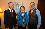 WOODBURY CT-050717JS06- Curator Marc Chabot, left with President Ingrid Manning and Executive Director Arthur Milnor at the Flanders Nature Center's 1920's themed Farm Tea held at the Flanders Nature Center in Woodbury. <br /> Jim Shannon Republican-American