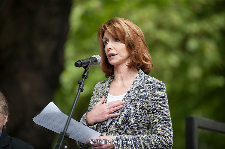 Jane Asher, President of Parkinson's UK, the National Autistic Society and Arthritis Care. . The Hardest Hit.  London march organised by the UK Disabled People's Council to protest at government cuts to disability benefits, allowances and services.