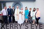 Fr.Martin Sheehan on his Silver Jubilee with family and Bishop Ray Browne, pictured l-r; Kevin Sheehan, Colonel Dean Clemons, Isaac Clomons, Bishop Ray Browne, Fr.Martin Sheehan, Lisette Clemons, Bernadette Sheehan, Lisa & Claire Sheehan.