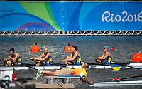 Rio de Janeiro. BRAZIL LTU W4X, 2016 Olympic Rowing Regatta. Lagoa Stadium,<br /> Copacabana,  &ldquo;Olympic Summer Games&rdquo;<br /> Rodrigo de Freitas Lagoon, Lagoa. Local Time 13:04:12  Saturday  06/08/2016<br /> [Mandatory Credit; Peter SPURRIER/Intersport Images]